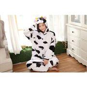 パジャマ靴付き/牛、パンダ、熊着ぐるみもこもこ/部屋着 コスプレ厚手ふわもこ/男女兼用 暖かい