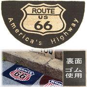 ★ココナツ玄関マット★コイヤーマット★【COIR MAT】ルート66ブラック★Americas Highway  Route66★