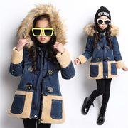 子供服 デニムコート 綿入れ コート ジャケット 女の子 防寒ウェア 防寒グッズ