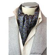 エレガント袋縫い葉っぱ柄メンズ用100%シルクスカーフ 1069c