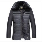 秋冬★中年★男性★手厚い★毛皮の襟★ジャケット★父