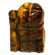 【彫刻置物】招き猫 「財(右手)」 20mm タイガーアイ