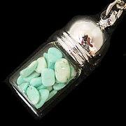 天然石チップ お守り瓶キーホルダー ハウライトターコイズ緑(Howlite Turquoise)