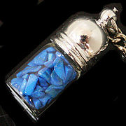天然石チップ お守り瓶キーホルダー ハウライトターコイズ青(Howlite Turquoise)