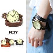 ◆[本革]アンティーク調・2連ベルト腕時計/ブレスレット/アクセ/雑貨/小物◆423070