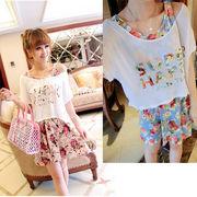 【即納】Tシャツ&花柄ワンピース2枚セット全2色v-xa5b-c6062【自社工場】レディース/大きいサイズ