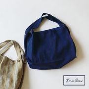 ◆2色展開◆ [バッグ]ワイドバッグ リネン アレンジボーダー