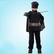 激安☆子供★ダンス・パーティー★cosplay★ゾロ扮装★頭巾+ベルト+シャツ+ズボン+マント+アイマスク