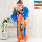 0667ボレロつきバッグリボンシフォンロング着物ドレス 花魁 よさこい 衣装 ダンス キャバドレスハロウィン