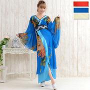 0556フラワーシフォンロング着物ドレス 和柄 衣装 ダンス よさこい 花魁 コスプレ キャバドレス