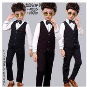 【ドット柄】男の子スーツ 上下セット フォーマル 男の子 ズボン2点セット ベスト+長パンツ