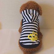 クラウンとボーダーのタンクトップ(ネイビー)(S~XL)ドッグウェア 犬の服【ルイスペット】