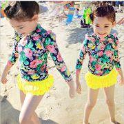 子供 水着 女の子 ワンピ風 スカート 3点セット セパレート 大きい花柄水着 日焼け対策