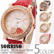正規品SORRISOソリッソ ハートモチーフが転がるハートチャーム付き腕時計 SRHI3 レディース腕時計