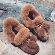 【即納】12536843 レトロスタイル防寒ファッションペタンコ靴