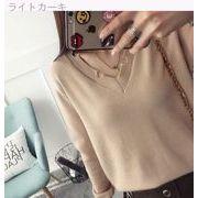 短いスタイル★セーターの女性★ヘッジ★Vネック★ニット★新しいデザイン★女性服★長袖★ボ
