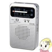 RD9SV ヤザワ AM・FMアナログポケットラジオ シルバー
