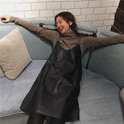 韓国風★ソフト★何でも似合う★PUレザースカート★スリング★ワンピース★女性服★新しい