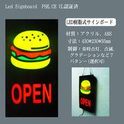 LED サインボード 樹脂型 OPEN Burger 433×233 縦型