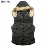 大人気冬物エアロポステール★レディース暖かい中綿ファー付ベスト4099-d-bk