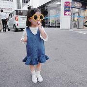 韓国風★新しいスタイル★キッズ女の子デニムサロベットスカート★