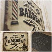 ★【Antique Emboss Plate】 レトロ調 ★ レクトエンボスプレート Barberバーバー★