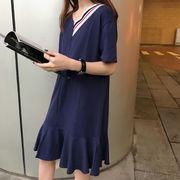 春夏★新しいデザイン★カレッジ風★何でも似合う★Vネック★単一色★Tシャツワンピース★ル