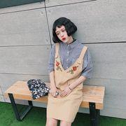 春服★新しいデザイン★フラワーズ★刺しゅう★レジャー★ノースリーブ★ストラップ★ワンピー
