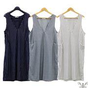 【アウトレット412057】大きいサイズ☆ストライプジャンパースカート LL 3L 4L