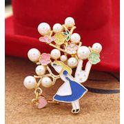 アリスブローチ ウサギ 真珠 花 かわいい