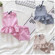 3色★流行り新しいスタイル★キッズ服 女の子セットアップ★2点セット トップ+パンツ