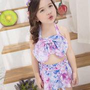 キッズ水着女の子バンドゥビキニ セパレート上下セットアップ リボンホルターネック スカート可愛い子供服