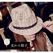 レディース麦わら帽子 2色 ファッション 夏 ハット UV対策 つば広帽子 日よけ