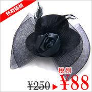 【 ぞろ目 セール 】レイヤードチュールリボン&巻き薔薇のミニハットヘアクリップ