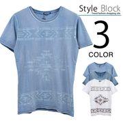 カットデニムネイティブプリントクルーネックTシャツ/sb-255658