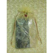 花リボン付 オーガンジー 巾着袋(特大) 3色(オレンジ、サックス、サーモンピンク欠品中です)