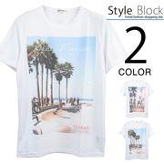 リゾート転写プリントクルーネックTシャツ/sb-255671