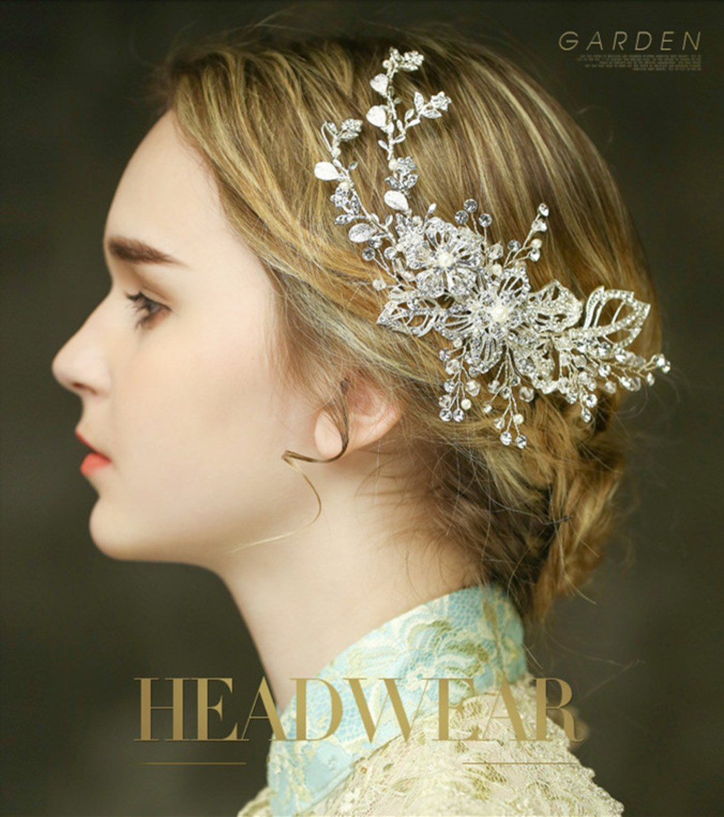 おしゃれ お花真珠髪留めキラキラスワロフスキー 花嫁 結婚式-ヘアピン ヘアアクセサリー ピン留め全1色