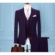 人気新品 高品質  ビジネススーツ 3点セット メンズ 3ピーススーツセットアップ オシャレ