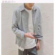 日系★裾★シンプル★青年★ルース★縦縞★シャツ★春★男★長袖シャツ★洋服★ジャケット