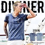 2017春夏新作★【DIVINER】スラブインディゴポケット付きTシャツ/メンズ カットソー トップス デニム