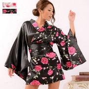 1019薔薇柄ミニ着物ドレス 和柄 衣装 ダンス よさこい 花魁 コスプレ キャバドレス