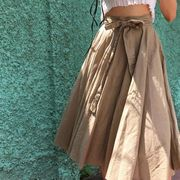 全1色★リボン結びフレアロングスカート :V02C0463