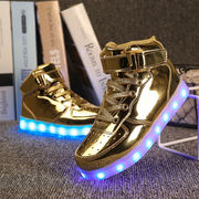 LEDキッズスニーカー 7色発光モード 光る靴 シューズ  USB充電式 子供用