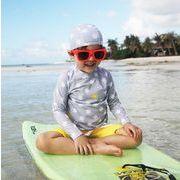子供水着 キッズ 男の子 100-150 選べる2色 ブラウス+パンツ+帽子 ビーチ 3点セット