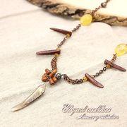 【売切り大特価】ナチュラルでエスニック★ウッドのネックレス/木の首飾り/Hb-7866