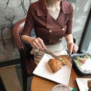 韓国 アンティーク調 着やせ 着やせ 気質 ダブルブレスト スーツの襟 単一色 短袖 ニ
