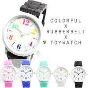 アラビア数字のシンプルラバーベルトウォッチ カラフルトイウォッチ ユニセックス キッズ腕時計 SPST010