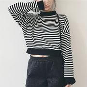 秋 新しいデザイン 韓国風 丸襟 ヘッジ 白黒 ストライプス 長袖 ルース 女 薄いスタ