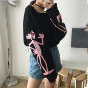 秋 新しいデザイン 韓国風 漫画 プリント ピンク 薄いスタイル 長袖 日焼け防止衣類